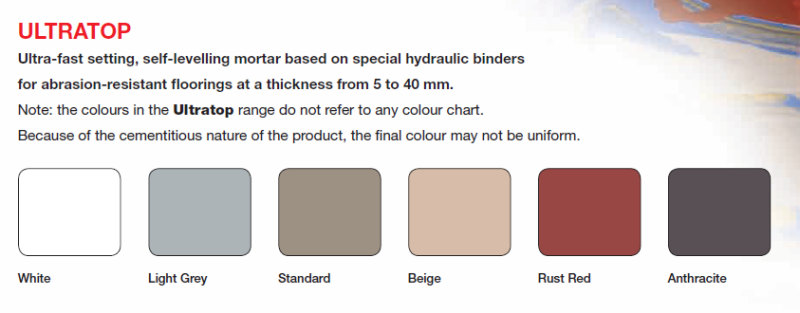 Ultratop colour range